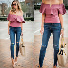 Women Ladies Off Shoulder Tops Short Sleeve Casual Blouse Loose T-shirt Party