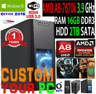 AMD QuadCore Gaming Desktop PC Computer 3.8G 16GB 2TB Win 10 Custom Build System