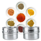 6PCS Stainless Steel Magnetic Spice Storage Jar Tins Container With Rack Holder