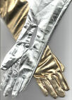 """Long Gold or Silver Gloves 23"""" Metallic Costume Accessory Medium or Large"""