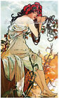 Mucha Lady Cotton Fabric Crazy Quilt Block Multi Sizes M4 Free Shipping