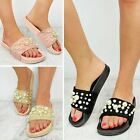 Womens Ladies Flat Sliders Comfy Pearl Slipper Slides Sandals Summer Shoes Size