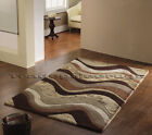 BOTANICAL SARIA RUG BROWN BEIGE CREAM COFFEE WAVES THICK CHUNKY LUXURY SOFT WOOL