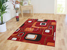 SMALL - EXTRA LARGE RED ORANGE CUBES MODERN PATTERNED SOFT CHEAP RUG SALE