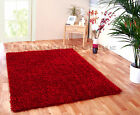SMALL - EXTRA LARGE THICK STRAND SHAGGY TRENDY SHINY RICH RED SPARKLE GLOSSY RUG
