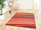 SMALL - EXTRA LARGE RED BURNT ORANGE HORIZON WAVE MODERN CHEAP STRIPED SOFT RUG