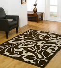 SMALL - EXTRA LARGE BEIGE & BROWN MODERN DAMASK AREA FLOOR RUG - DISCOUNT PRICE