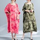 S-5XL Ladies Oversized Casual 3/4 Sleeve Maxi Blouse Dress Boho Kaftan Holiday