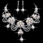 Bridal Wedding Crystal Rhinestone Necklace Earrings Party New Pearl Jewelry Set