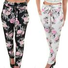 Ladies High Waist Elasticated Floral Printed Crepe Smart Textured Trousers