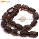 Natural DIY Faceted Freefrom Smoky Quartz For Jewelry Making Beads Strand 15''