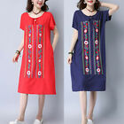 Oversized Summer Women Midi Dress Boho Embroidery Floral Baggy Loose Tunic Beach