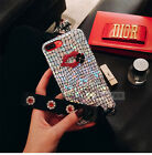 Luxury Bling Diamonds Lip Laser Wristbands strap Soft Case For iPhone 7Plus 6 6s