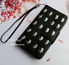 Skull Stud phone wallet Leather flip case Handmade cover For Samsung Note 3 4 5
