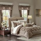 24pc Mushroom Brown Tufted Comforter Set, Sheets, Pillows, Curtains Etc.