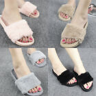 Fur Slide Flip Flop Cute Slippers Comfortable Flat Shoes Faux Furry Sandals Pom