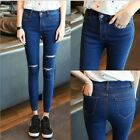 Slim Pencil Pants Denim Hole Stretch New Korean Women High-waist Flexible Jeans