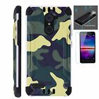 ZTE Slim Case + TEMPERED GLASS/ Duo Layer Phone Cover GREEN CAMO COMBAT