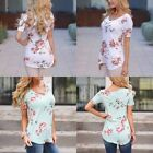 Cotton Womens Floral Flowers Blouses Custom Tee T Shirts Casual Short Sleeve Top