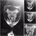 DOG engraved etched set 4 glasses gift wedding personalised free