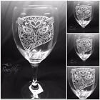 OWL FACE engraved, etched set 4 glasses, gift, wedding, personalised free