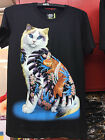 Cat Tattoo Golden Fish T-Shirt Black Shorsleeve Biker Glow In The Dark Fashion