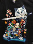 Cat Sword Tattoo Geisha T-Shirt Glow In The Dark Black Shortsleeve Japan Style