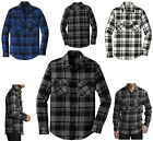MEN'S ROUNDED HEM, FLANNEL, CLASSIC PLAID SHIRT, LONG SLEEVE, POCKETS, XS-4XL