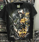 New Pirate Treasure T-Shirt Glow In The Dark Biker Rock Eagle Black ShortSleeve