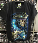 Pirate Ship T-Shirt Glow In The Dark Biker Rock Shortsleeve Black Cotton 100%