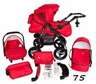 Classic Baby Pram Pushchair 2in1 or 3in1 stroller travel system – RED 75