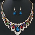Bonnie Womens Mixed Style Bohemia color Bib Chain Necklace Earrings Jewelry