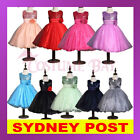 Girls Wedding Bridesmaids Flower Party Pageant Bowknot Princess Formal Ball Gown