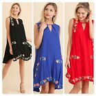 Umgee Womens Embroidered Sleeveless Dress w/Keyhole Neckline 3 Colors Size S M L