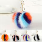 Rabbit Fur Fluffy Pompom Ball Handbag Car Pendant Charm Key Chain Keyrings