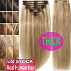 slikit cordless hair straightener - Thick Double Weft Clip In Real Remy Human Hair Extensions Full Head highlight US
