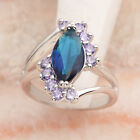 Nice Natural Blue Sapphire 6*12mm Gemstone Silver Ring R2036