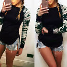 Fashion Women Camouflage Long Sleeve Shirt Casual Blouse Tops T Shirt Sizes