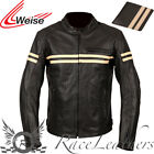 WEISE BRUNEL BLACK CREAM MENS GENTS LEATHER MOTORCYCLE MOTORBIKE BIKE JACKET