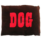 Creature Clothes-Dog Doza Bed-Red 'DOG'/Chocolate-Made in UK - Large 86x107cms