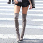 Womens High Heel Pull On Lace Up Over Knee High Boot Casual Fashion New SHoes