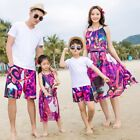 Summer family Clothing floral Red woman girl long dress cotton father son Sets