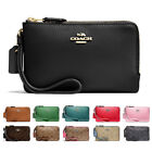New Coach F87590 F87591 Double Corner Zip Wallet In Polished Pebble Leather Nwt