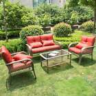 Rattan Furniture Set Patio Cushioned Sofa Outdoor Indoor Rocking / Hammock Chair