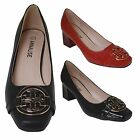 Mid Heel Office / Work / Casual Gold Black Detail Buckle Court Shoes