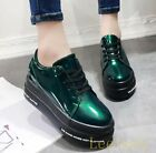 Fashion Womens Hidden Heels Lace Up Platform Creepers Shiny Flats Shoes Sneakers