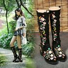 Womens Embroidered Floral Casual Zipper Ethnic Casual Knee high Boots Shoes Plus
