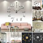 Modern DIY Large Wall Clock 3D Mirror Surface Sticker Home Office Room Decor