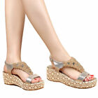 Women's Lace Vintage With Glitter Diamante Wedge Chunky Blocked Sandals