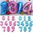 "16"" Giant Foil Number Balloons 0 1 2 3 4 5 6 7 8 9 Pink Blue Birthday Decor"